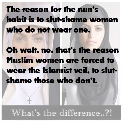 The reason for the nun's habit is to slut-shame women who do not wear one. Oh wait, no, that's the reason Muslim women are forced to wear the Islamist veil, to slut-shame those who don't.